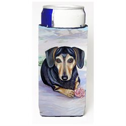 Black and Cream Dachshund Ultra Beverage Insulators for slim cans 7076MUK