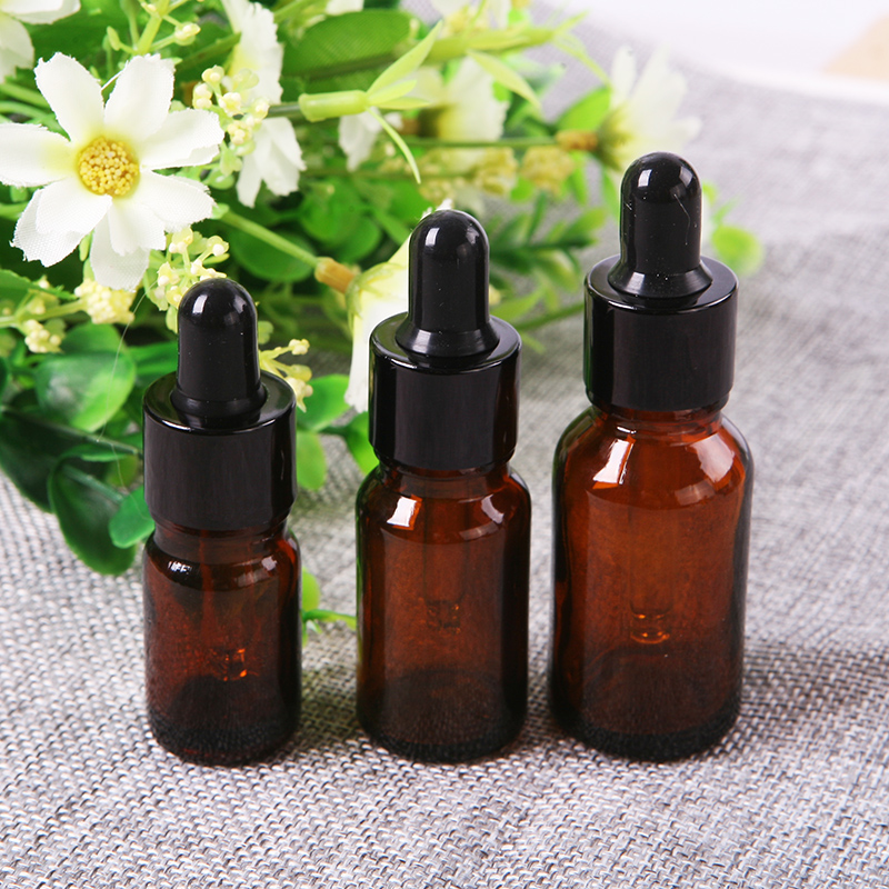 Home Gardren Amber Round Glass Liquid Reagent Bottle With Dropper Drop Essential Oil Aromatherapy VBL86 P0.3
