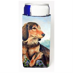 Long Hair Chocolate and Cream Dachshund Ultra Beverage Insulators for slim cans 7023MUK