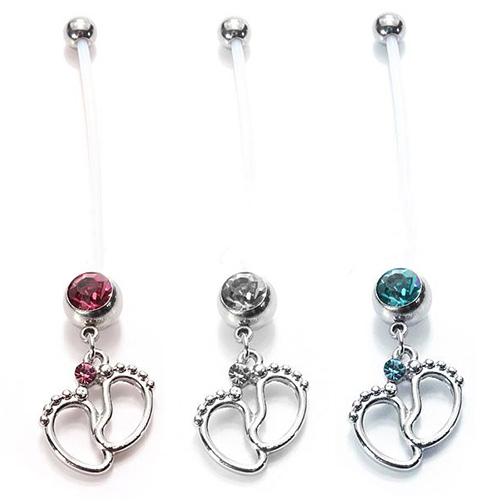 2015 hot sell Flexible Navel Piercing Pregnancy Maternity Bar Ring Body Belly Piercing Baby Feet cool design 5673
