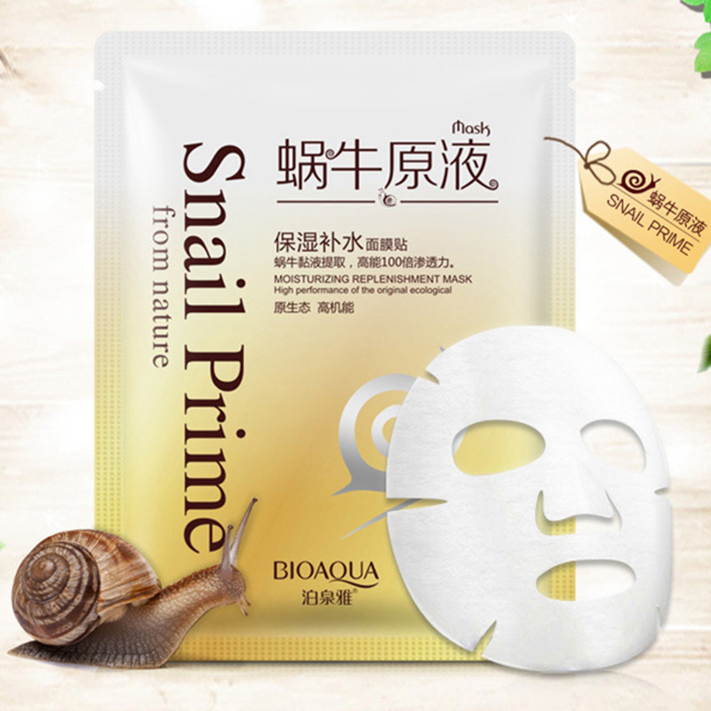 BIOAQUA Snail Facial Mask Moisturizing Face Mask Whitening Oil Control Shrink Pores Skin Care