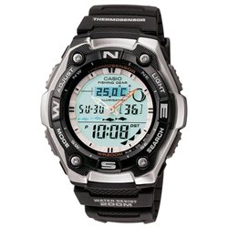 Casio Sports and Fishing Analog-Digital Watch with Fish Indicator, Thermometer AQW101-1AV