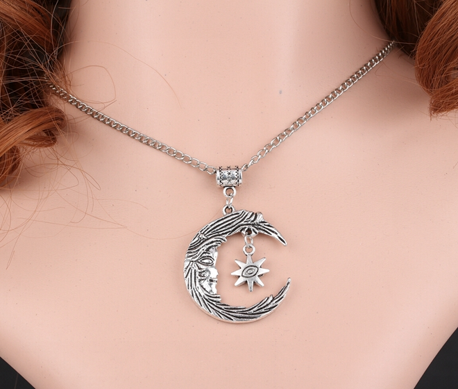 Crescent Evil Eye Sun Charms Vintage Silver Choker Collar Statement Necklace Pendant DIY Jewelry Women Clothing Accessories A59