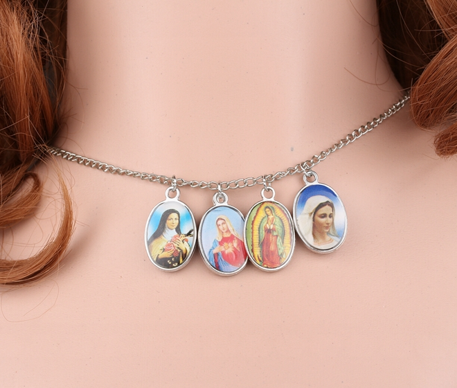 Double Female Allah Virgin Mary Icon Charms Vintage Silver Choker Collar Statement Necklace Pendant DIY Jewelry For Women A77