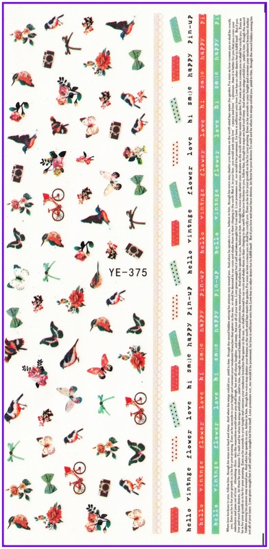 WATER TRANSFER DECAL NAIL STICKER BIRD FUNNY FACES STARS SWEET HEARTS FISH TOYS YE375-380