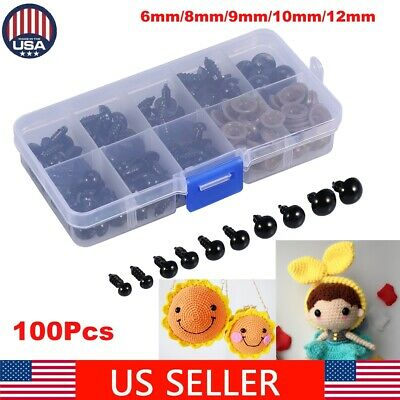 100pcs Black Plastic Safety Eyes For Animal Puppet Doll Puppy Craft 6-12mm US