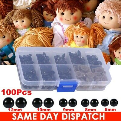 100pcs Plastic Safety Eyes For Bear Stuffed Toys Animal Puppet Dolls 6 - 12mm US