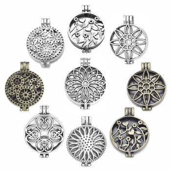 1pc Antique Vintage Hollow Photo Aromatherapy Essential Oil Diffuser Necklace Lockets Sunflower Pendants For DIY Jewelry