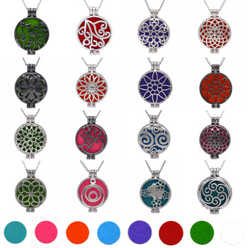 1pcs Aroma Diffuser Necklace Open Vintage Silver Lockets Pendant Perfume Essential Oil Aromatherapy Locket Necklace With Pads