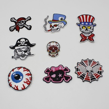 1pcs skull stripes clothes embroidered eye embroidery patch iron free delivery clothing patchwork clothes