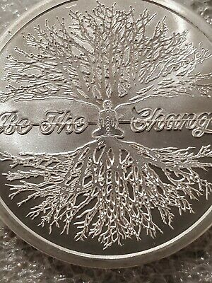 BE THE CHANGE 1 OZ 999 SILVER SHIELD YOGA CHAKRA PEACE Self Reflect tree of life
