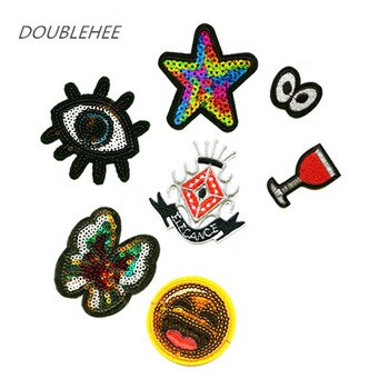 DOUBLEHEE Eyes Stars And Butterfly Sequins Patch Embroidered Iron On Patches Embroidery Sew On DIY Coat Shoes Accessories