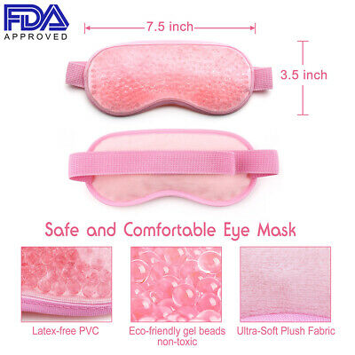 Ice Gel Beads Hot Cold Pack Eye Mask for Migraines Puffy Eyes Soft Plush Backing