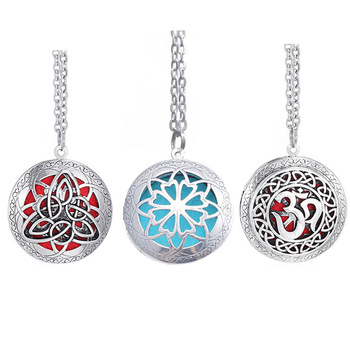 Perfume Aromatherapy Necklace Women Men Girls Round Essential Oil Diffuser Locket Necklace with Colorful Diffuser Pads