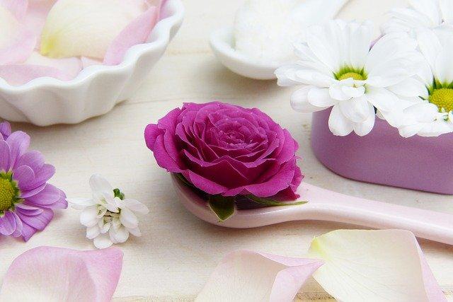 rose, pink, spoon