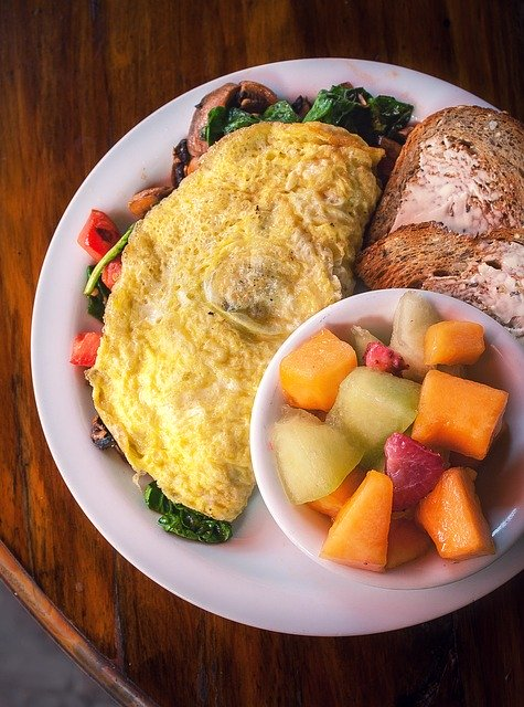 breakfast, eggs, fruit