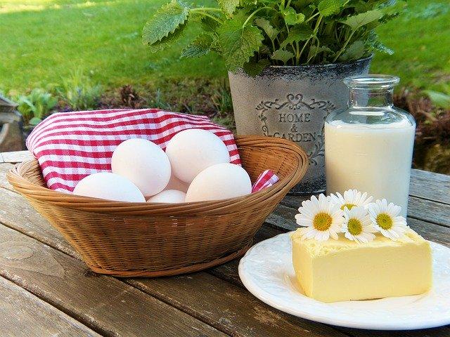 egg, milk, butter