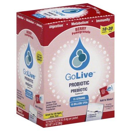 Golive Probiotic And Prebiotic Supplement Blend Pomegranate, 10 Count
