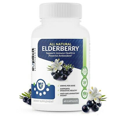 Natural Elderberry Supplement - Supports Immune System, Strong Antioxidant, 60ct