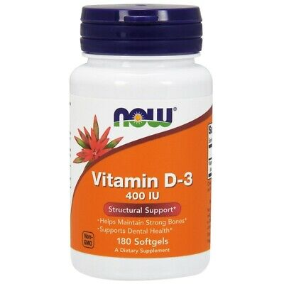 NOW High Potency Vitamin D-3 400 IU 180 Soft gels Immune System & Strong Bones