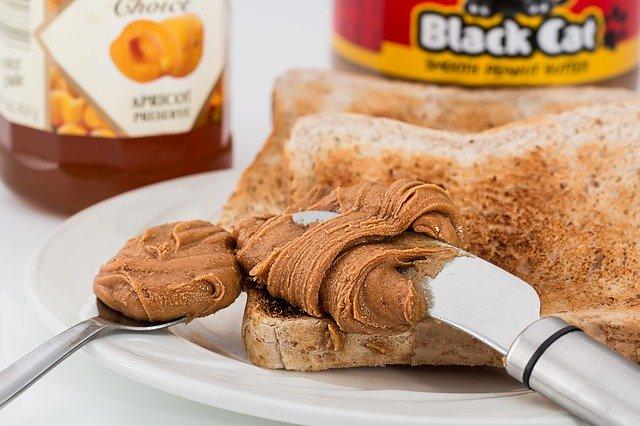 peanut butter, toast, jam
