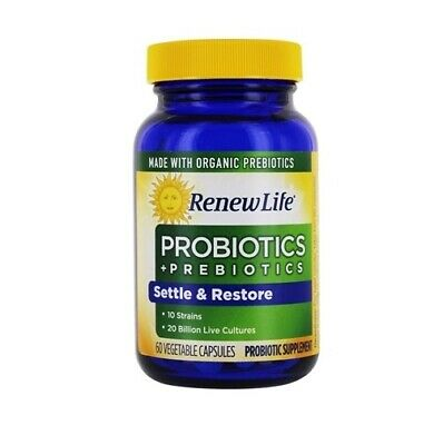 Renew Life Settle & Restore Digestive Probiotic & Prebiotics 60 Capsules A090