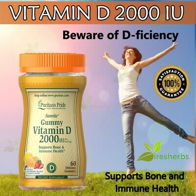 VITAMIN D D3 2000 IU Immune System Strong Bones Skin Mood Supplement 60 Gummies