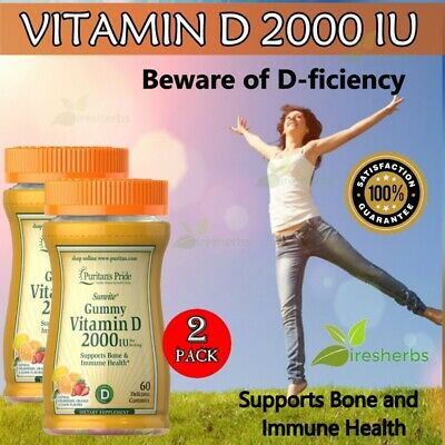 VITAMIN D D3 2000 IU Strong Bone Mood Immune System Heart Skin Energy Pill 120ct