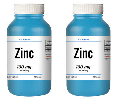 Zinc Citrate 100mg Serving 2 HUGE Bottle 400 Capsules HIGH POTENCY STRONG IMMUNE